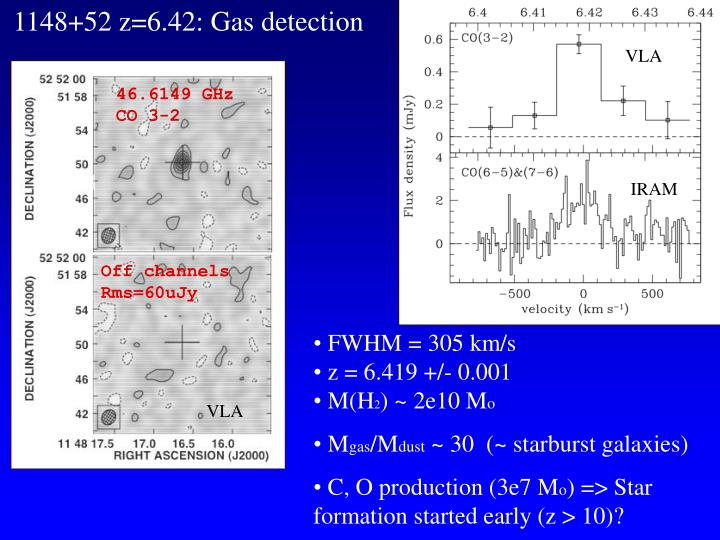 1148+52 z=6.42: Gas detection