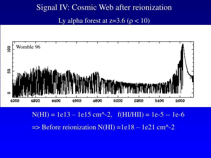 Signal IV: Cosmic Web after reionization