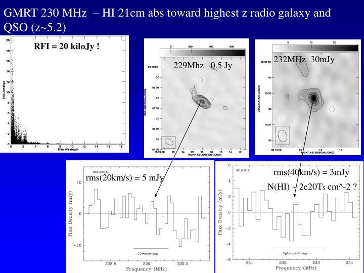 GMRT 230 MHz  – HI 21cm abs toward highest z radio galaxy and QSO (z~5.2)
