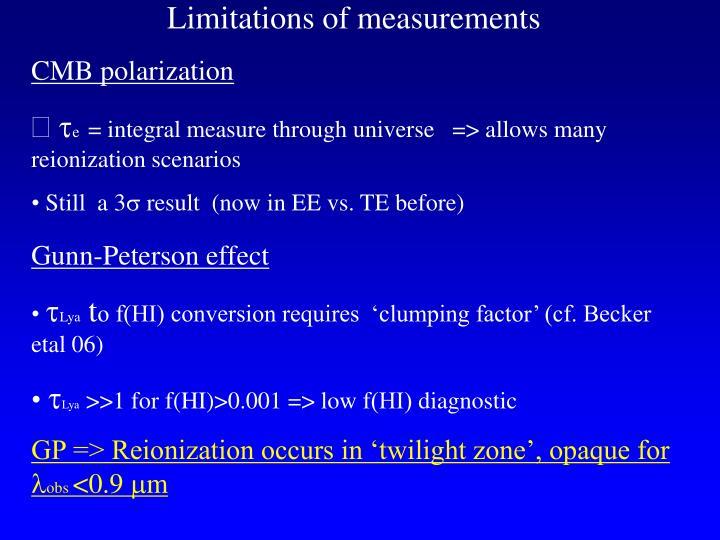 Limitations of measurements