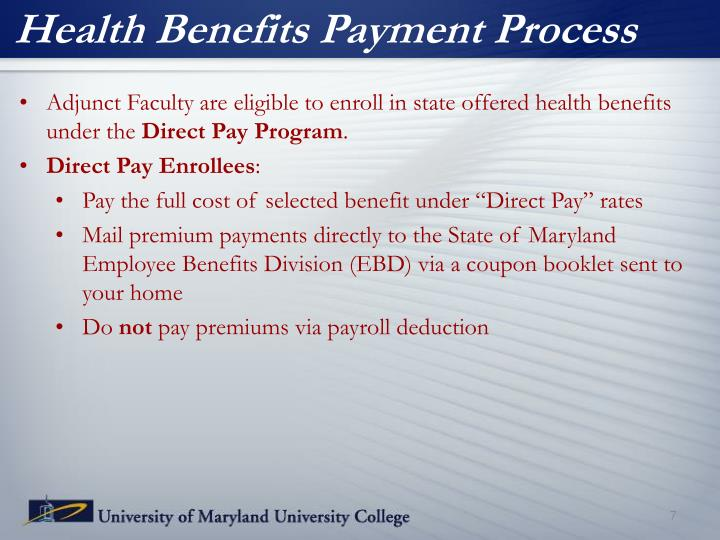 Health Benefits Payment Process