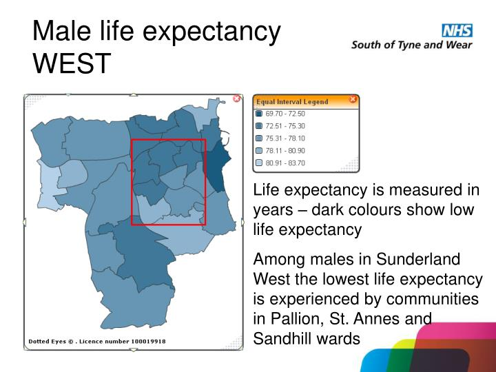 Male life expectancy WEST