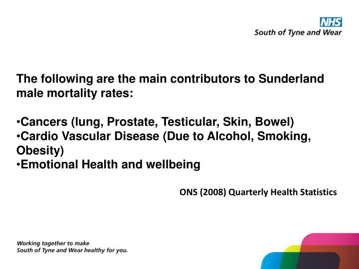 The following are the main contributors to Sunderland male mortality rates: