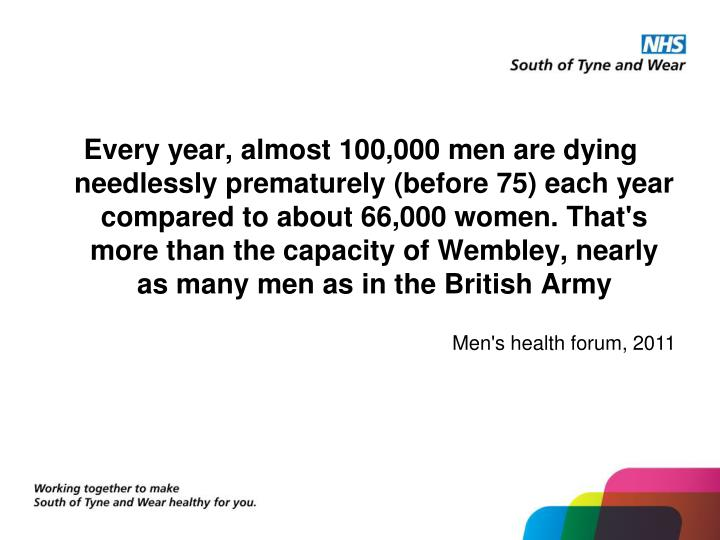 Every year, almost 100,000 men are dying needlessly prematurely (before 75) each year compared to ab...