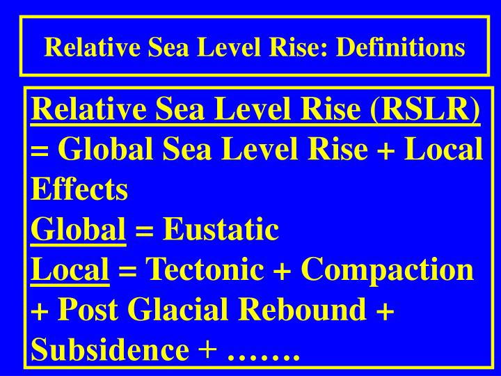 Relative Sea Level Rise: Definitions