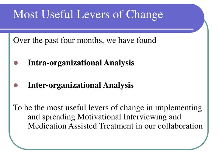 Most Useful Levers of Change