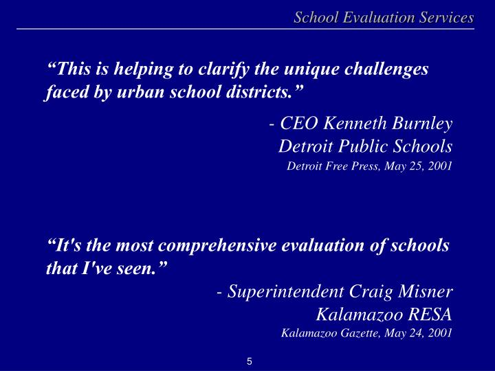 """""""This is helping to clarify the unique challenges faced by urban school districts."""""""