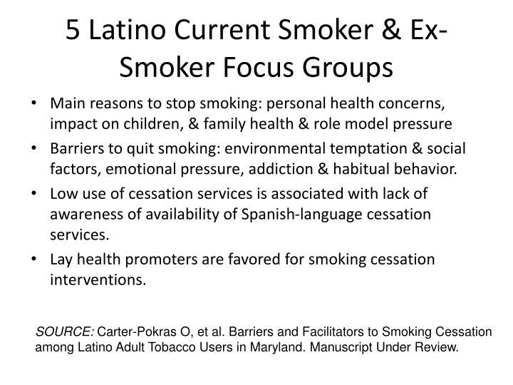 5 Latino Current Smoker & Ex-Smoker Focus Groups