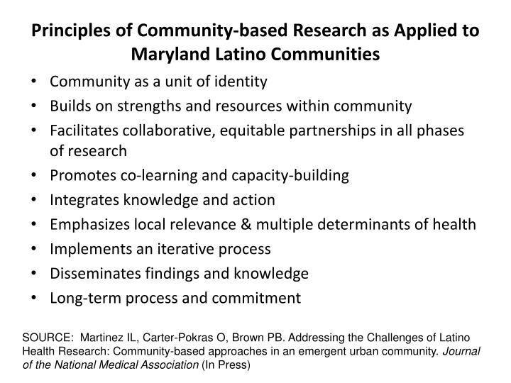 Principles of Community-based Research as Applied to Maryland Latino Communities
