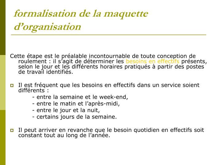 formalisation de la maquette d'organisation