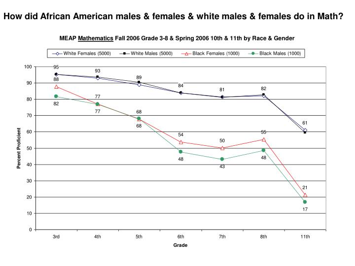 How did African American males & females & white males & females do in Math?