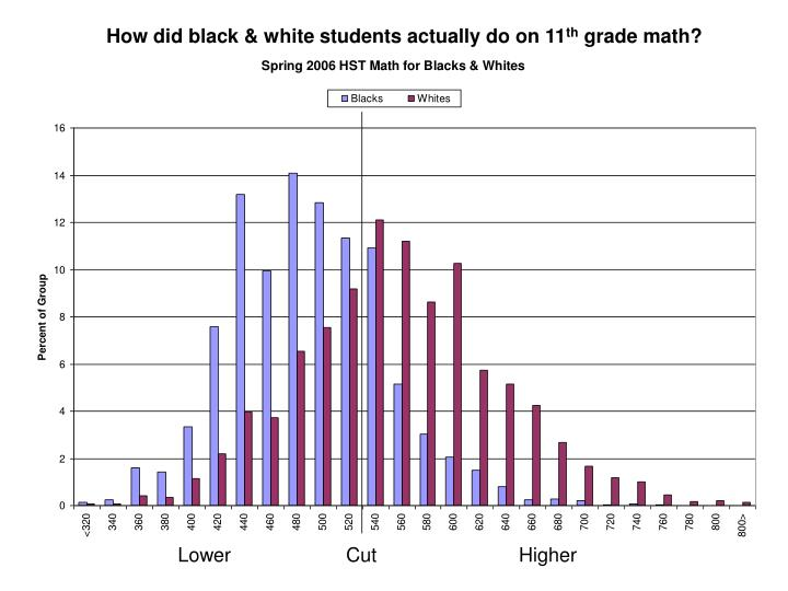 How did black & white students actually do on 11