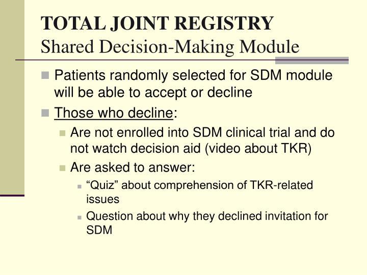 TOTAL JOINT REGISTRY