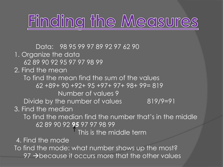 Finding the Measures