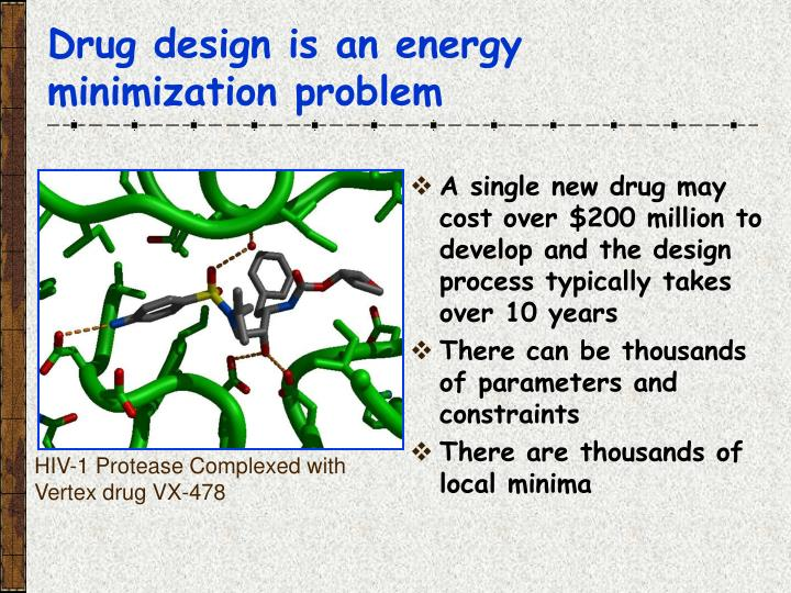 Drug design is an energy minimization problem