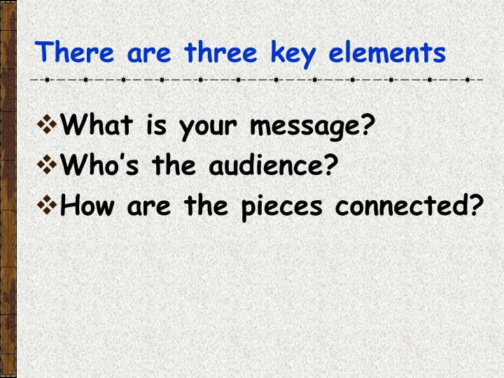 There are three key elements
