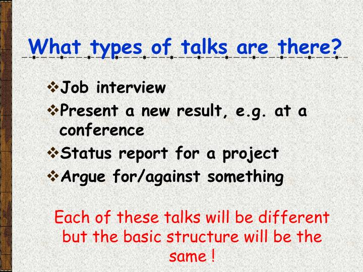 What types of talks are there?
