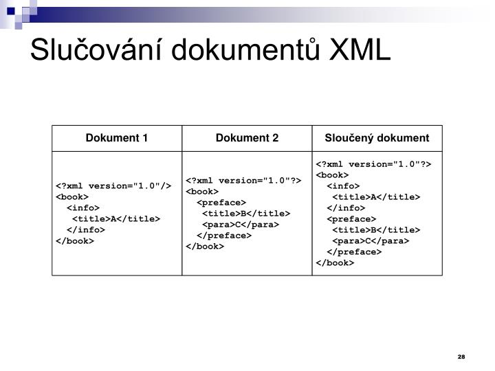 Slučování dokumentů XML