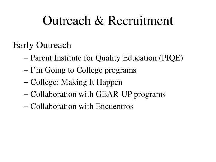 Outreach & Recruitment