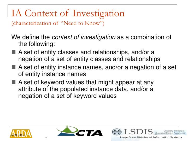 IA Context of Investigation