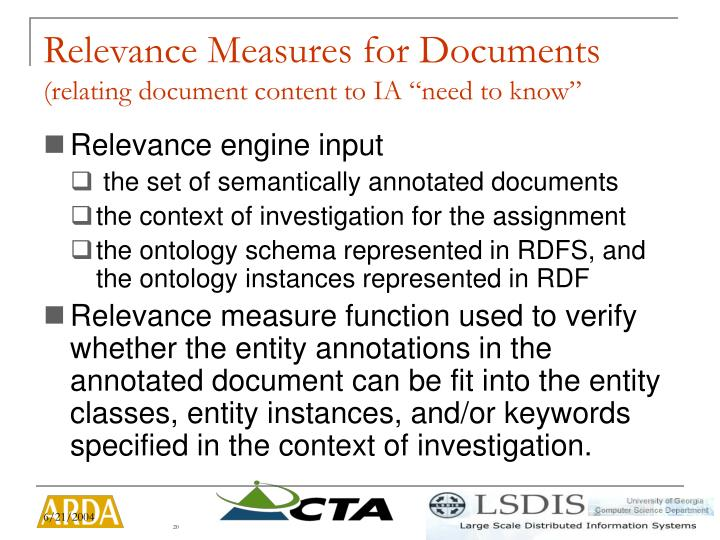Relevance Measures for Documents