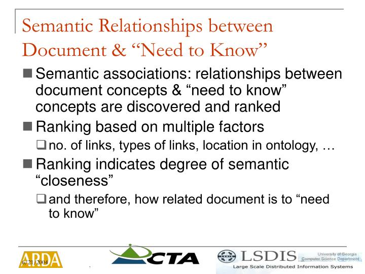 "Semantic Relationships between Document & ""Need to Know"""