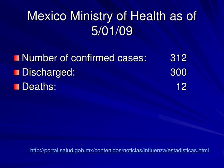 Mexico Ministry of Health as of 5/01/09