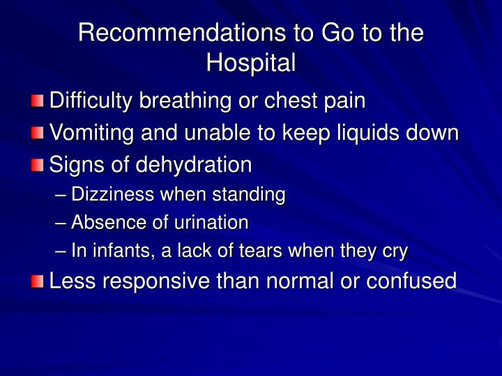 Recommendations to Go to the Hospital