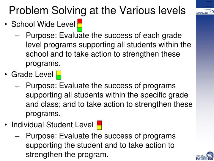 Problem Solving at the Various levels