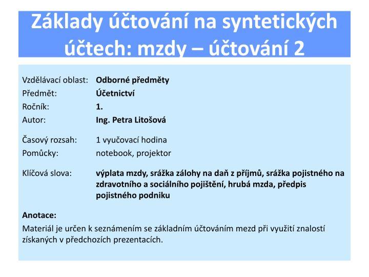 Základy účtování na syntetických účtech: mzdy – účtování 2