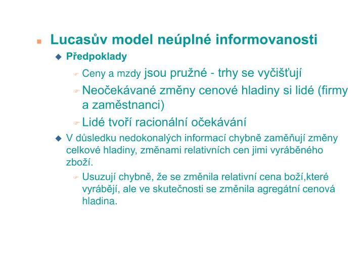Lucasv model nepln informovanosti