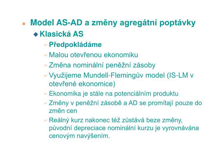 Model AS-AD a zmny agregtn poptvky