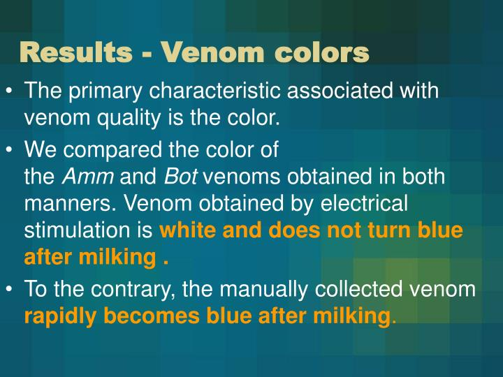 Results - Venom colors