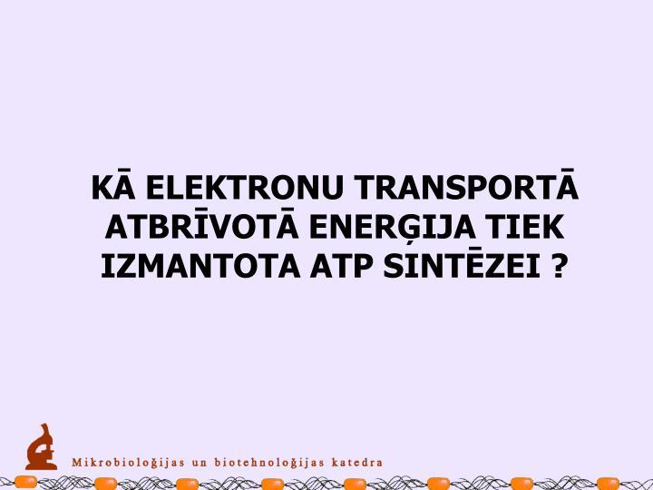 KĀ ELEKTRONU TRANSPORTĀ ATBRĪVOTĀ ENERĢIJA TIEK IZMANTOTA ATP SINTĒZEI ?