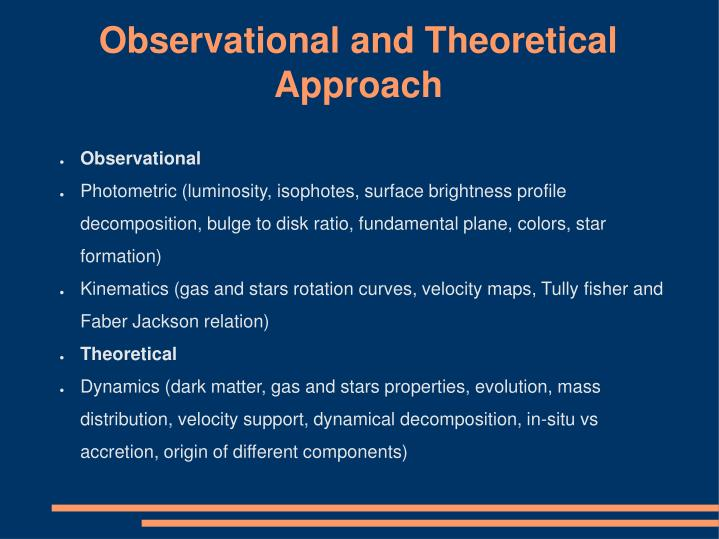 Observational and Theoretical Approach
