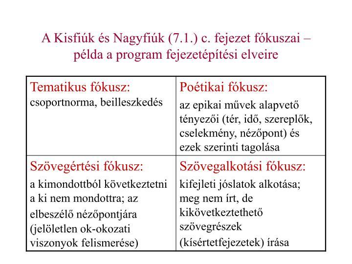 A Kisfiúk és Nagyfiúk (7.1.) c. fejezet fókuszai – példa a program fejezetépítési elveire