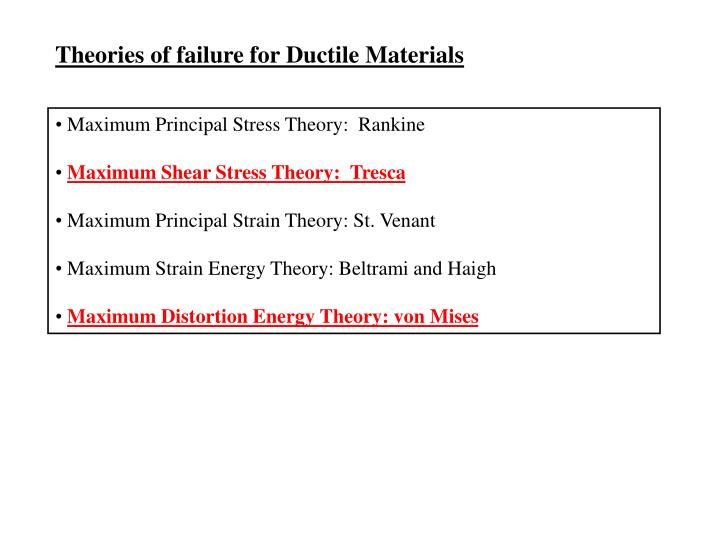 Theories of failure for Ductile Materials