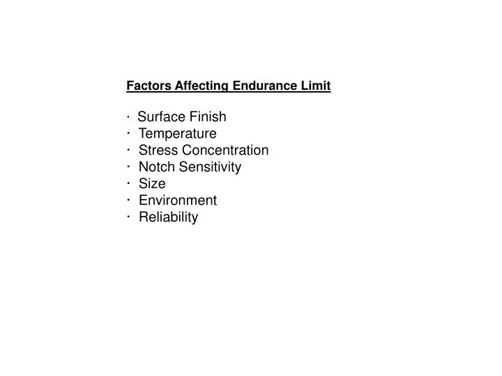 Factors Affecting Endurance Limit