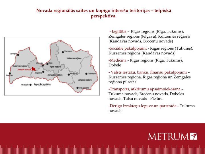 Novada reģionālās saites un kopīgo interešu teritorijas – telpiskā perspektīva.