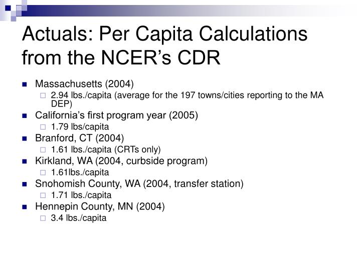Actuals: Per Capita Calculations from the NCER's CDR
