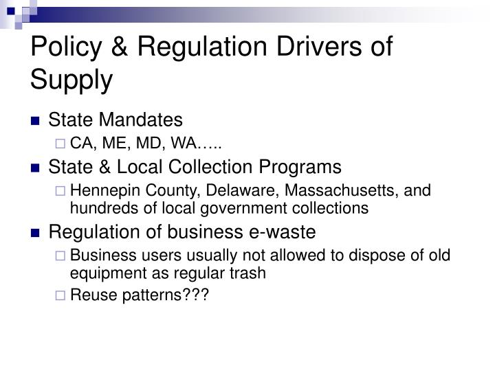 Policy & Regulation Drivers of Supply