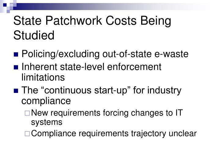 State Patchwork Costs Being Studied