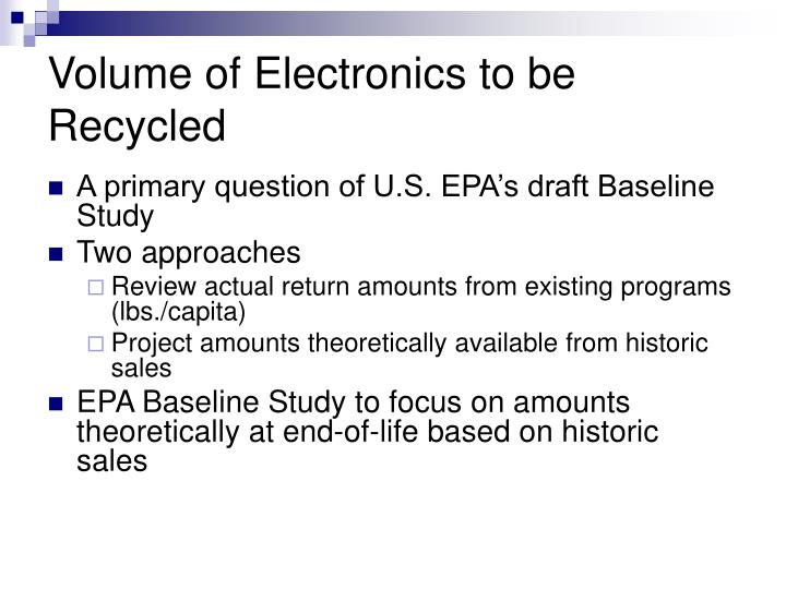 Volume of Electronics to be Recycled