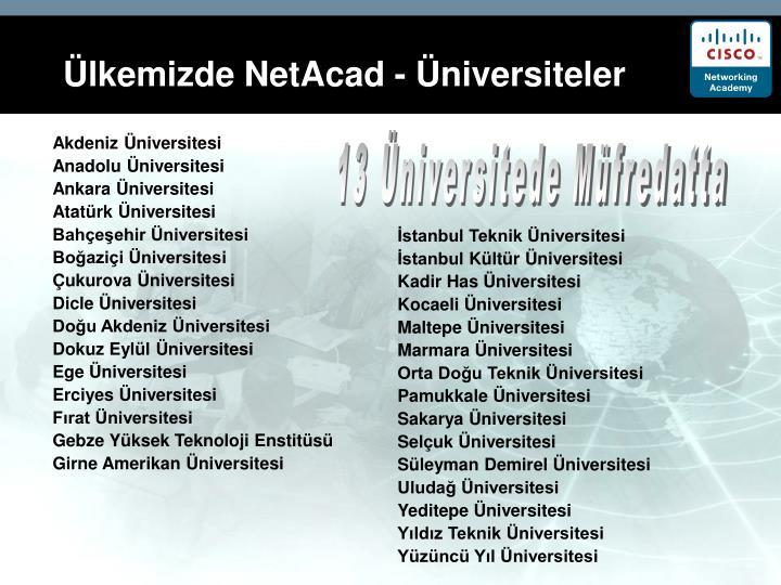 Ülkemizde NetAcad - Üniversiteler