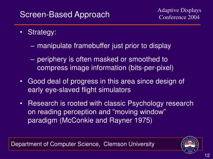 Screen-Based Approach