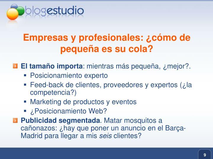 Empresas y profesionales: ¿cómo de pequeña es su cola?