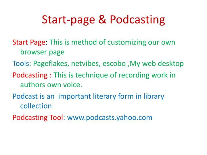 Start-page & Podcasting