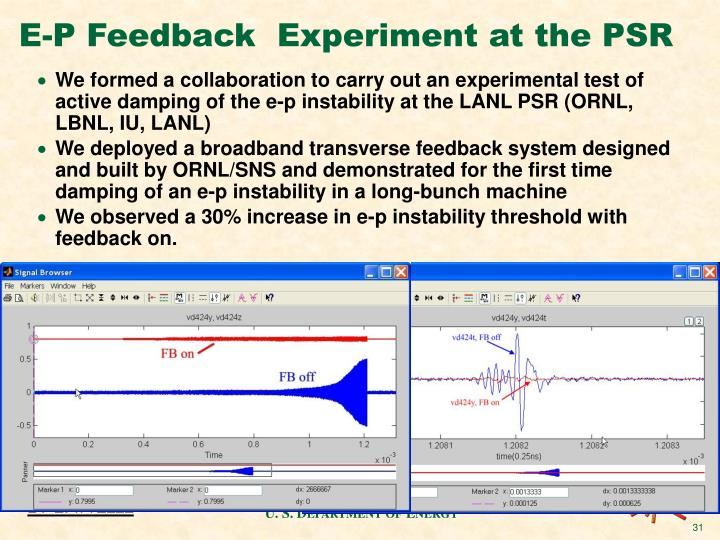 E-P Feedback  Experiment at the PSR