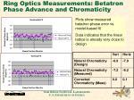 ring optics measurements betatron phase advance and chromaticity