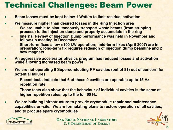 Technical Challenges: Beam Power